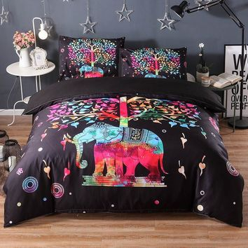 Cool 3pcs Elephant Bedding Set Mandala Luxury Bed Cover Duvet Cover Twin Queen King Size Bed Linen Set Boho Quilts Comforter SheetsAT_93_12