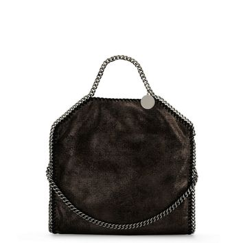 Ruthenium Falabella Shiny Dotted Chamois Fold Over Tote - Stella Mccartney