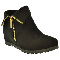 Womens Ankle Boots Faux Suede Cuffed Collar Hidden Wedge Shoes black