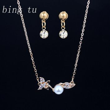 Bing Tu Fashion Simulated Pearl Indian Jewelry Sets Gold Color Leaf Design Crystal Necklace Small Earrings Set Jewellery Women
