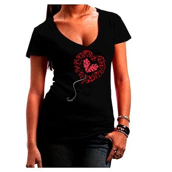 Broken Heart Popped Red Heart Balloon Juniors V-Neck Dark T-Shirt