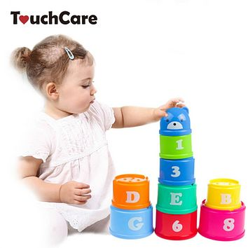 9 pieces/lot Educational kids Toys Figures Letters Folding Cup Stacking Pagoda Baby Children Juguetes Early Intelligence