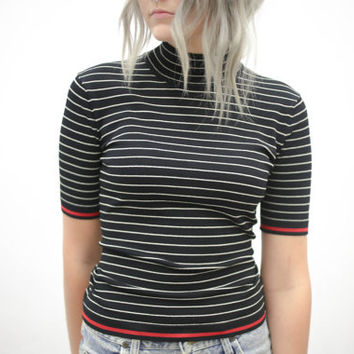 vtg 90's minimalist black white striped velvet tee, mock neck red, 1990s modern vtg tumblr soft grunge vaporwave aesthetic fashion