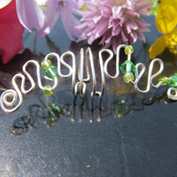RESERVED FOR ERICA Green Beaded Silver Wire Ear by TheHempChick