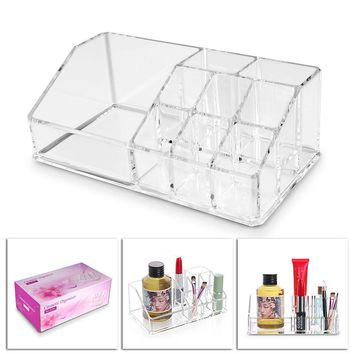 Acrylic Cosmetic Storage Box Holder 9 Cells Makeup Organizer Storage