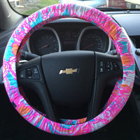 Steering Wheel Cover made with Lilly Pulitzer's Feelin' Tanked fabric