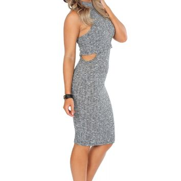 Cutout Midi Rib Dress Grey
