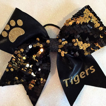 "The TIGER PAW - 1/2 Black & Gold Reversible Sequin and 1/2 Black Mystique with Paw Print and ""Tigers"" Cheer Bow"