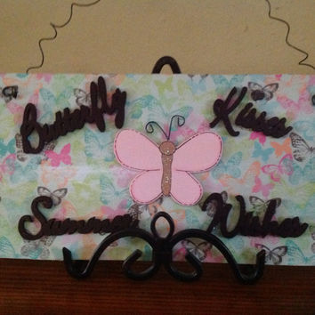 Butterfly Kisses Summer Wishes...Decoupaged Wood Sign Decor Wall Art, Nursery/Girls Room/Baby Showwer Gift