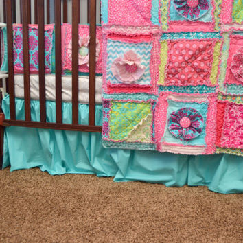 Custom Crib Skirt, Solid Turquoise, or You Design, Made to Order, Dust Ruffle