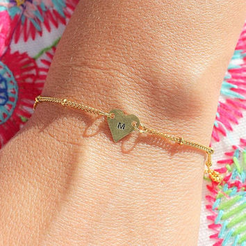 Gold Initial Bracelet,initial jewelry,Initial Bracelet,Initial Heart Bracelet,Initial, Bridesmaid Gift,Personalized Jewelry, Personalized