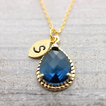 Custom hand stamped initial navy stone gold necklace