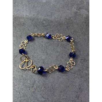 Gold and Blue Crystal Bracelet