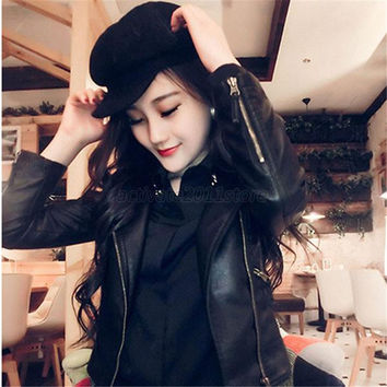 Women Slim Biker Motorcycle PU Soft Leather Zipper Jacket Coat Outerwear PY1 P18 SM6