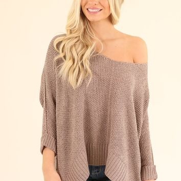 TICKET TO PARADISE SWEATER - DARK TAUPE