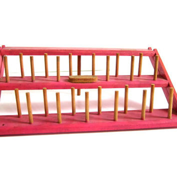 vintage Pink Wood Thread Spool Holder  / foldable wooden sewing display in pink