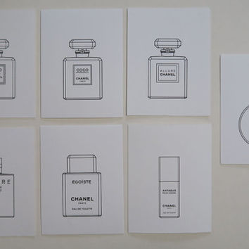 Set of 7 CHANEL Cards Mini Perfume Card in Simplified Chinese / Holiday / Birthday / Greeting / Party / Gift / Invitation Card