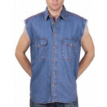 Mens Motorcycle Biker Shirt Dark Blue Cut Off Sleeveless Cotton Denim Button up