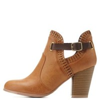 Cognac Qupid Laser-Cut Belted Ankle Booties