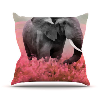 "Oriana Cordero ""Ele-Phant"" Pink Gray Throw Pillow"