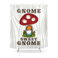 Society6 Gnome Sweet Gnome - In Teal & Orange Shower Curtain