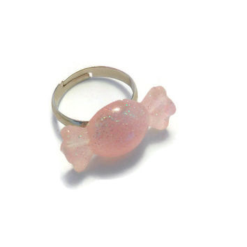 Sparkling Pink Wrapped Candy Adjustable Ring