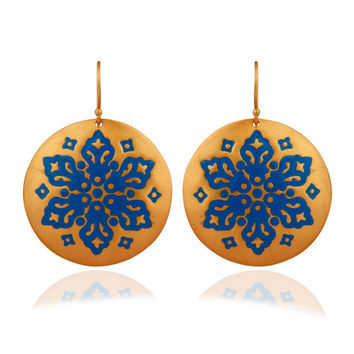 18K Yellow Gold Plated With Blue Enamel Fashion Earrings For Women Jewelry