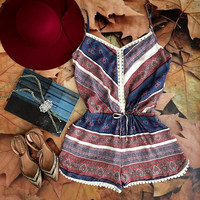 2015 summer style Ladies Sleeveless Print rompers womens jumpsuit Casual Loose hollow out chiffon Jumpsuits clothes