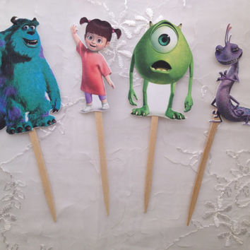 Disney Monsters Inc. Cupcake Toppers Sully Mike Wazowski Boo Randall Set of 12