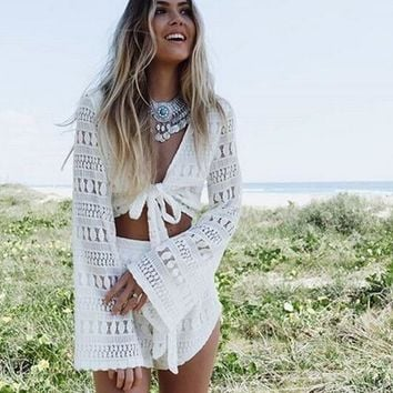 CUTE SEXY WHITE LACE BOW TWO PIECE ROMPER
