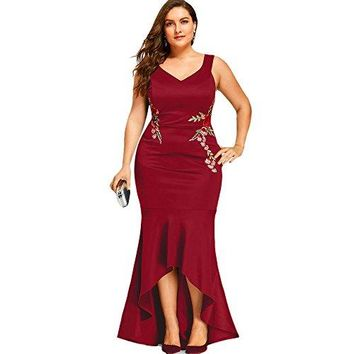 Women Casual Plus Size Sleeveless Sequins Party Fishtail Maxi Dress