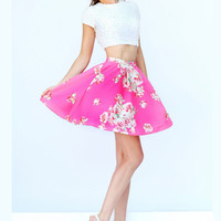 Two piece Cap Sleeves Printed Cocktail Dress Sherri Hill 32251