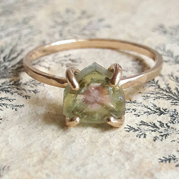 Gold Watermelon Tourmaline Crystal Slice Ring - Tourmaline Ring - Crystal Ring - Yellow Gold Stacking Ring - Gold Fill Ring - Raw Stone Ring