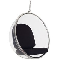 LexMod Eero Aarnio Style Bubble Chair With Black Pillows