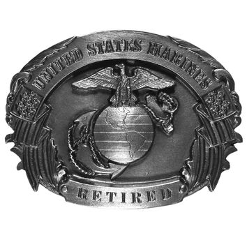 Sports Accessories - Marines Retired Antiqued Belt Buckle