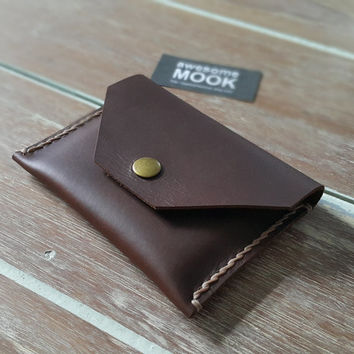 CRAZY HORSE Leather, Personalized Slim wallet, Mens wallet Brown Leather Wallet - Gift for Him, VISA card Holder