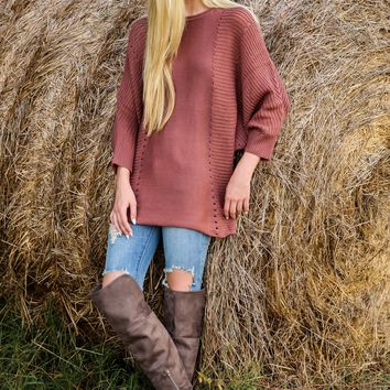Hanging Around The Bonfire Mauve Sweater