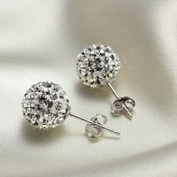 Cute 925 Sterling Silver Austria Rhinestone Earrings