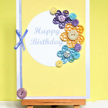 Greeting card, birthday card, quilled card, handmade card, quilling card, quilled flowers, paper flowers, paper quilling card, flowers card