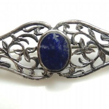 Vintage Sterling Silver Lapis Lazuli Brooch, lovely gift for Mother's Day