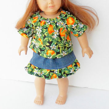 "18 inch girl or 15"" doll clothes 18"" Handmade ,Green Floral Print Ruffled Blue Jean Denim Skirt, Peasant Blouse, Tam Hat, 3 pc Outfit Summer"