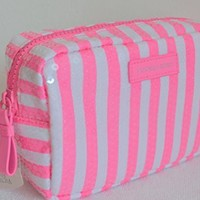 Victoria's Secret Sequins Pink White Striped Cosmetic Makeup Travel Case Bag