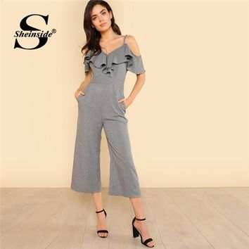 Sheinside Cold Shoulder Ruffle Trim Wide Leg Striped Jumpsuit Summer V neck Spaghetti Strap Jumpsuit Women Grey Elegant Jumpsuit
