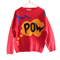 Vintage 80's BRIGHT Colorful POW Sweater COSBY