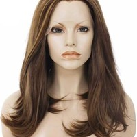 Natural Brown Shoulder Length Straight Bob Synthetic Lace Front Wig