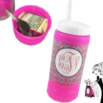 Personalized Sports Bottle with Hidden Compartment Personalized Water Bottle with Straw Monogram Water Bottle Sport Bottle