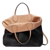 Gucci Ramble Reversible Leather Shopping Tote Bag with Shoulder Strap 370823 1071 Black/Beige