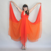 70s CHIFFON MAXI Dress - Vintage 1970s Flowy Scarf Hem Two Tone Orange STUNNER - s