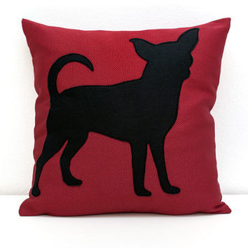 Chihuahua Throw Pillow - Sofa Pillow - Toss Pillow - Decorative Pillow - burgundy and black - Ready to Ship