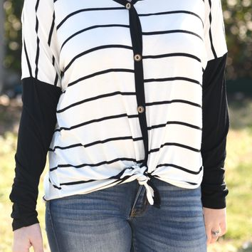 Keep It Together Striped Top - Black